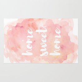 'Home Sweet Home' Typography Pinks Watercolour Rug