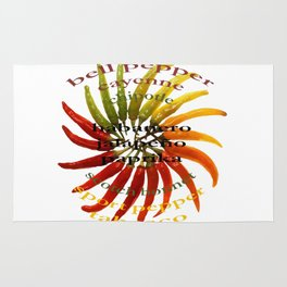 Chili Color Wheel With Hot Pepper Text Rug