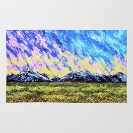 Aurora Borealis Over the Colorado Rocky Mountains Rug