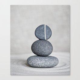 Zen cairn pebble stone balance grey Canvas Print