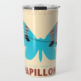 Papillon, Steve McQueen vintage movie poster, retrò playbill, Dustin Hoffman, hollywood film Travel Mug