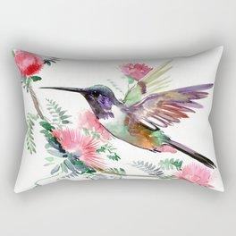 Flying Hummingbird and Red Flowers Rectangular Pillow
