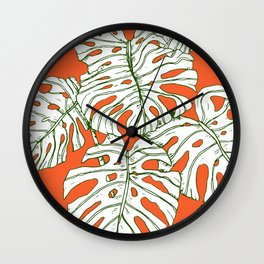 Hand drawing monstera Wall Clock