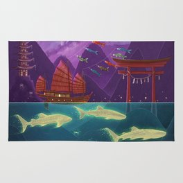 Junk Ship and Glow Sharks Rug