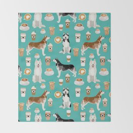 Husky siberian huskies coffee cute dog art drinks latte dogs pet portrait pattern Throw Blanket