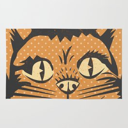 Spooky Vintage Halloween Feline Cat Face Rug
