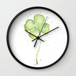 Clover Four Leaf Lucky Charm Green Clovers Wall Clock