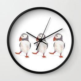 3 dancing puffins Wall Clock
