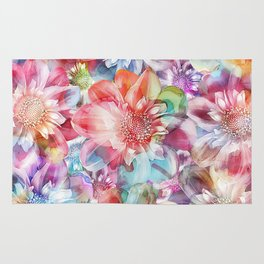 Spring Flowers on Painted Background Rug