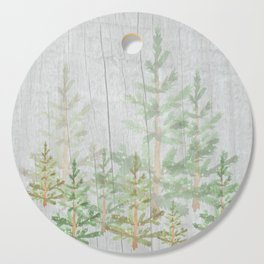 Pine forest on weathered wood Cutting Board