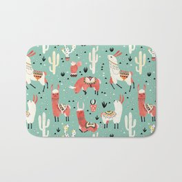 Llamas and cactus in a pot on green Bath Mat
