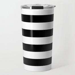 Stripe Black & White Horizontal Travel Mug