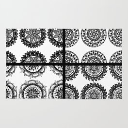 Black and White Patch-Work Mandala Textile Rug