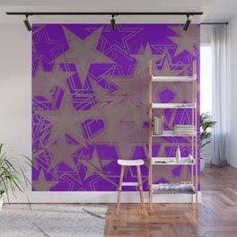 Purple metallic background in blue stars. Wall Mural
