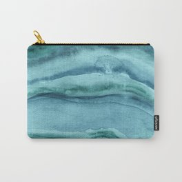 Watercolor Agate - Teal Blue Carry-All Pouch