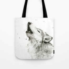 Wolf Howling Watercolor Animals Painting Black and White Tote Bag
