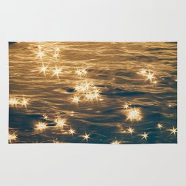 Sparkling Ocean in Gold and Navy Blue Rug