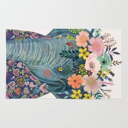 Elephant with flowers on head Rug