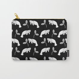 Manatee linocut black and white minimal pattern nature art manatees Carry-All Pouch