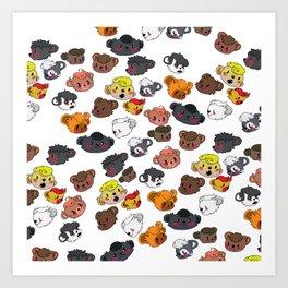 Many Beautiful Bear Faces Art Print