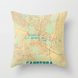 Canberra Map Retro Throw Pillow