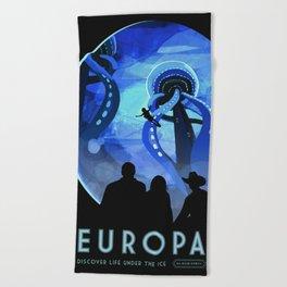 Europa Space Travel Retro Art Beach Towel