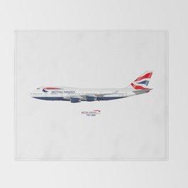 British Airways 747 Throw Blanket