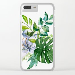 Flower and Leaves Clear iPhone Case