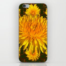 YELLOW DANDELIONS  & DARK MOSS GREEN ART DESIGN iPhone Skin