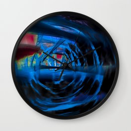 Energetic dark blue and red spiral Wall Clock