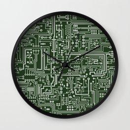 Circuit Board // Green & Silver Wall Clock