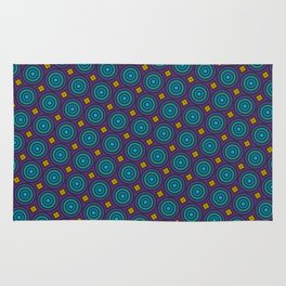 Art Deco Pattern in blue, purple, yellow and teal repeating circles Rug