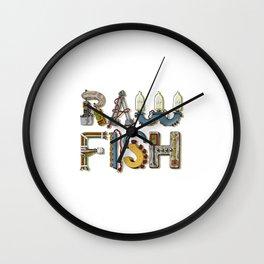 MACHINE LETTERS - RAW FISH (white) Wall Clock