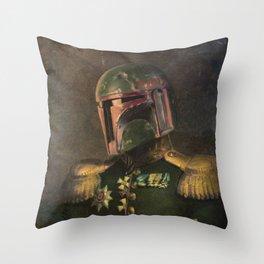Boba Fett General Portrait Painting   Fan Art Throw Pillow
