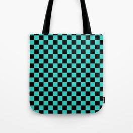 Black and Turquoise Checkerboard Tote Bag
