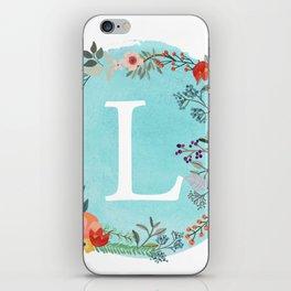 Personalized Monogram Initial Letter L Blue Watercolor Flower Wreath Artwork iPhone Skin