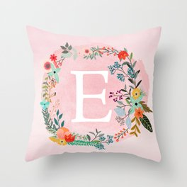 Flower Wreath with Personalized Monogram Initial Letter E on Pink Watercolor Paper Texture Artwork Throw Pillow