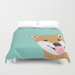 Shiba Inu Peek - cute shiba doge peeking funny dog art print mint turquoise customizable dog gift Duvet Cover