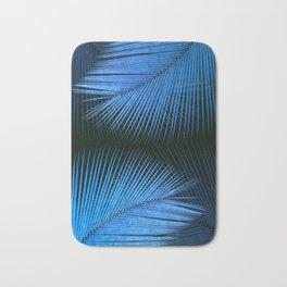 Palm leaf synchronicity - metallic blue Bath Mat