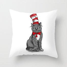 A Cat Wearing a Hat Throw Pillow