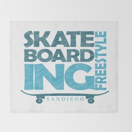 Skateboarding Freestyle San Diego Throw Blanket