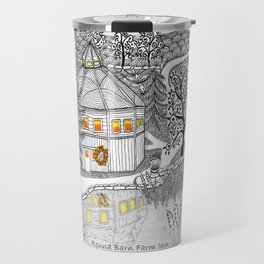 Round Barn Inn, Waitsfield, Vermont near Sugarbush- Zentangle illustration Travel Mug