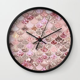 Rose Gold Blush Glitter Ombre Mermaid Scales Pattern Wall Clock