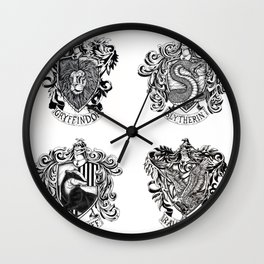 Hogwarts House Crests Wall Clock