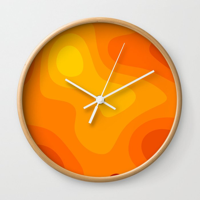 Abstract Yellow To Orange Liquid Wall Clock By