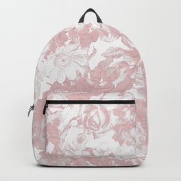 Girly trendy pink coral white lace floral Backpack