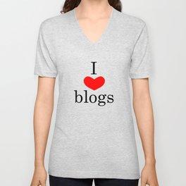 I heart blogs Unisex V-Neck