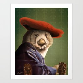 Wombat with a Red Hat Art Print