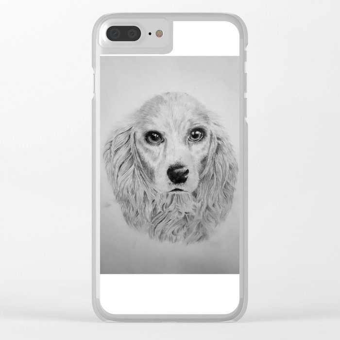Pencil drawing of spaniel Clear iPhone Case
