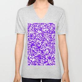 Small Spots - White and Indigo Violet Unisex V-Neck